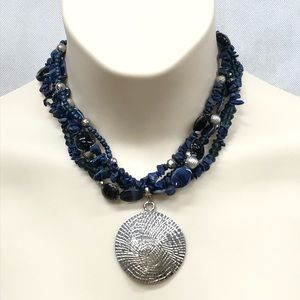 Navy blue beaded necklace with silver tone accent